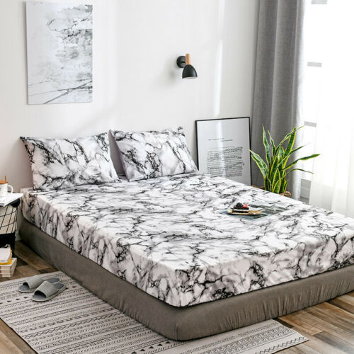 5 Size Bedding Fitted Sheet Marble Pattern Bed Mattress Protect Cover Pillowcase