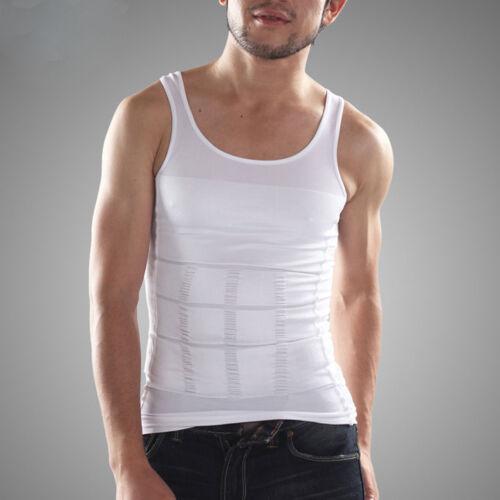 Large White Mens Slimming Body Shaper Vest T Shirt Abs Abdomen Slim Lift Gym L