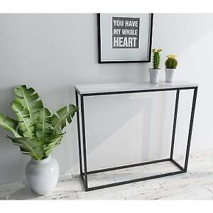 Roomfitters Sofa Console Table Marble Print Top Metal Frame Accent White Narrow