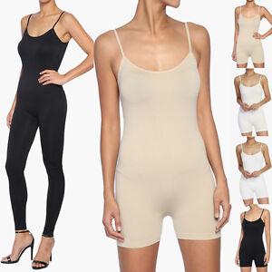 Details about TheMogan Women s Spaghetti Strap Long Jumpsuit   Short Romper  Bodysuit One Piece bccc7c93a