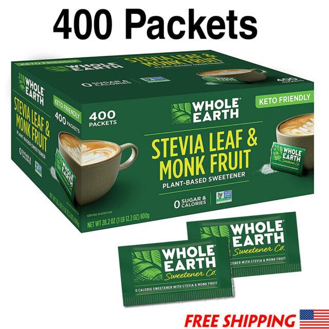 Stevia Leaf & Monk Fruit Sweetener Whole Earth, 400 Packet ...