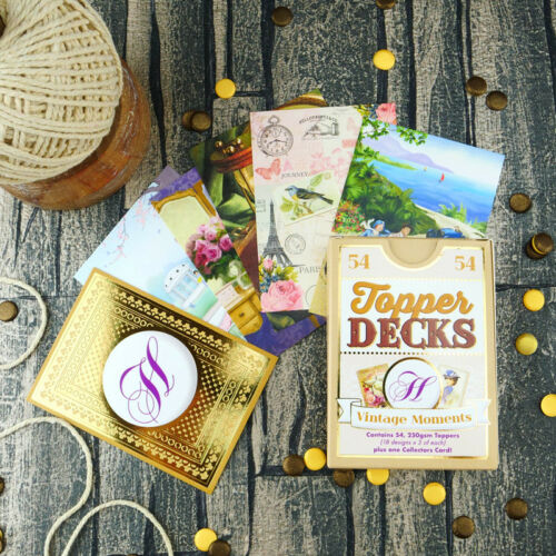 54 x 250gsm Cards 18 Designs DECK004 Hunkydory VINTAGE MOMENTS Topper Decks