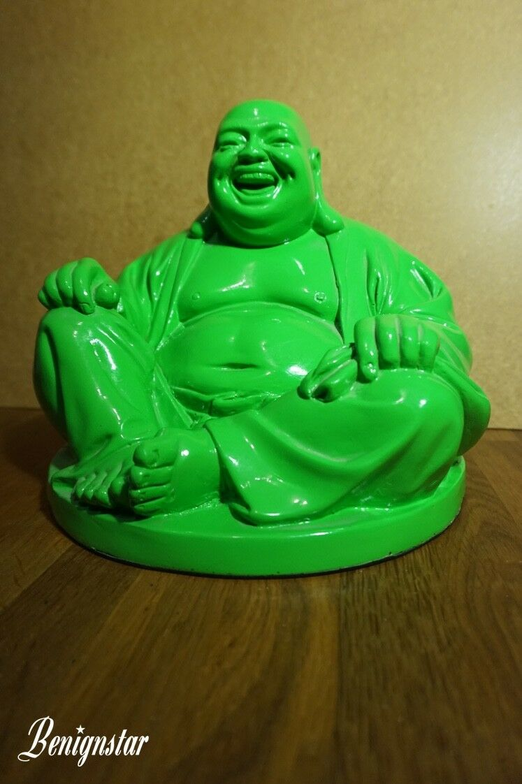 Large Seated Grün Laughing Buddha figurine Statue