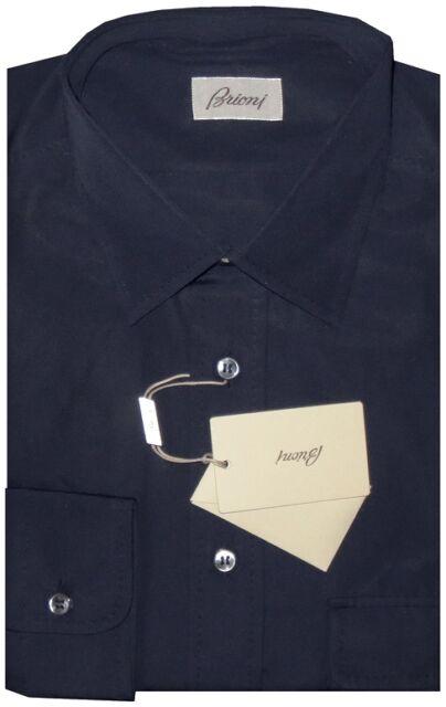 $795 NEW BRIONI NAVY BLUE HAND MADE SLIM FIT COTTON DRESS SHIRT III M 41 16