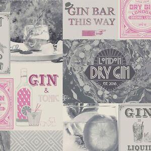 Crown-Gin-O-039-Clock-Tapete-Rosa-Silber-M1457-Glitzer