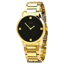NEW GUESS WATCH for Men * Gold Tone w/Black Dial * Diamond Accents * U0428G1