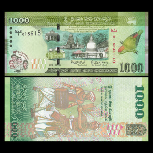 Sri Lanka 1000 1,000 Rupees 2018 UNC 70th COMM P-NEW