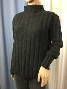 vintag-EDDIE-BAUER-WOOL-Cable-Knit-Pullover-High-Crew-Neck-sweater-women-039-s-L