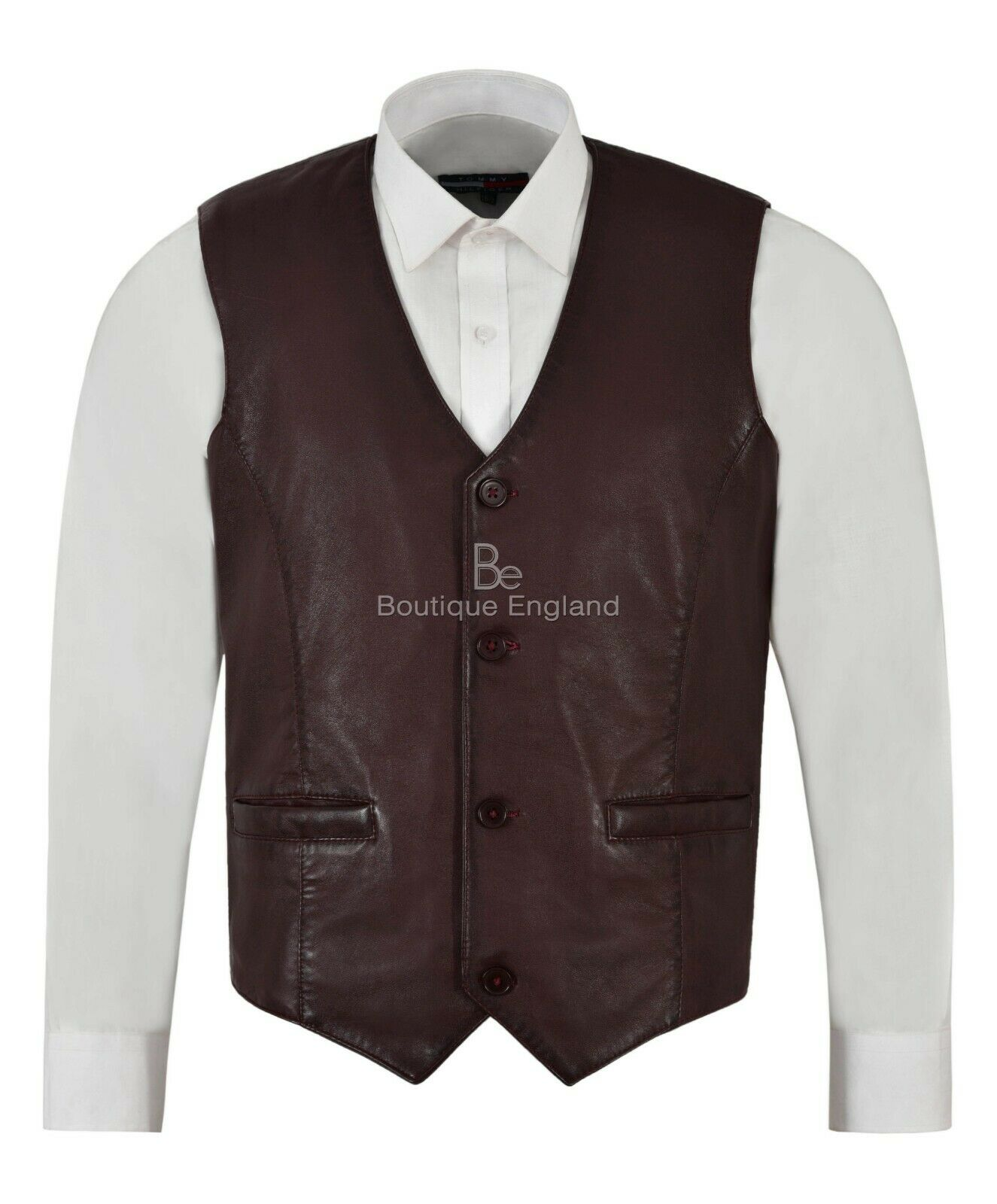 Men's Real Leather Waistcoat Cherry Napa Party Fashion Classic Style Vest 5226