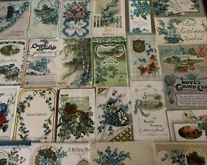 Nice-Lot-of-25-FORGET-ME-NOTS-FLOWERS-Antique-greeting-Postcards-in-Sleeves-a820