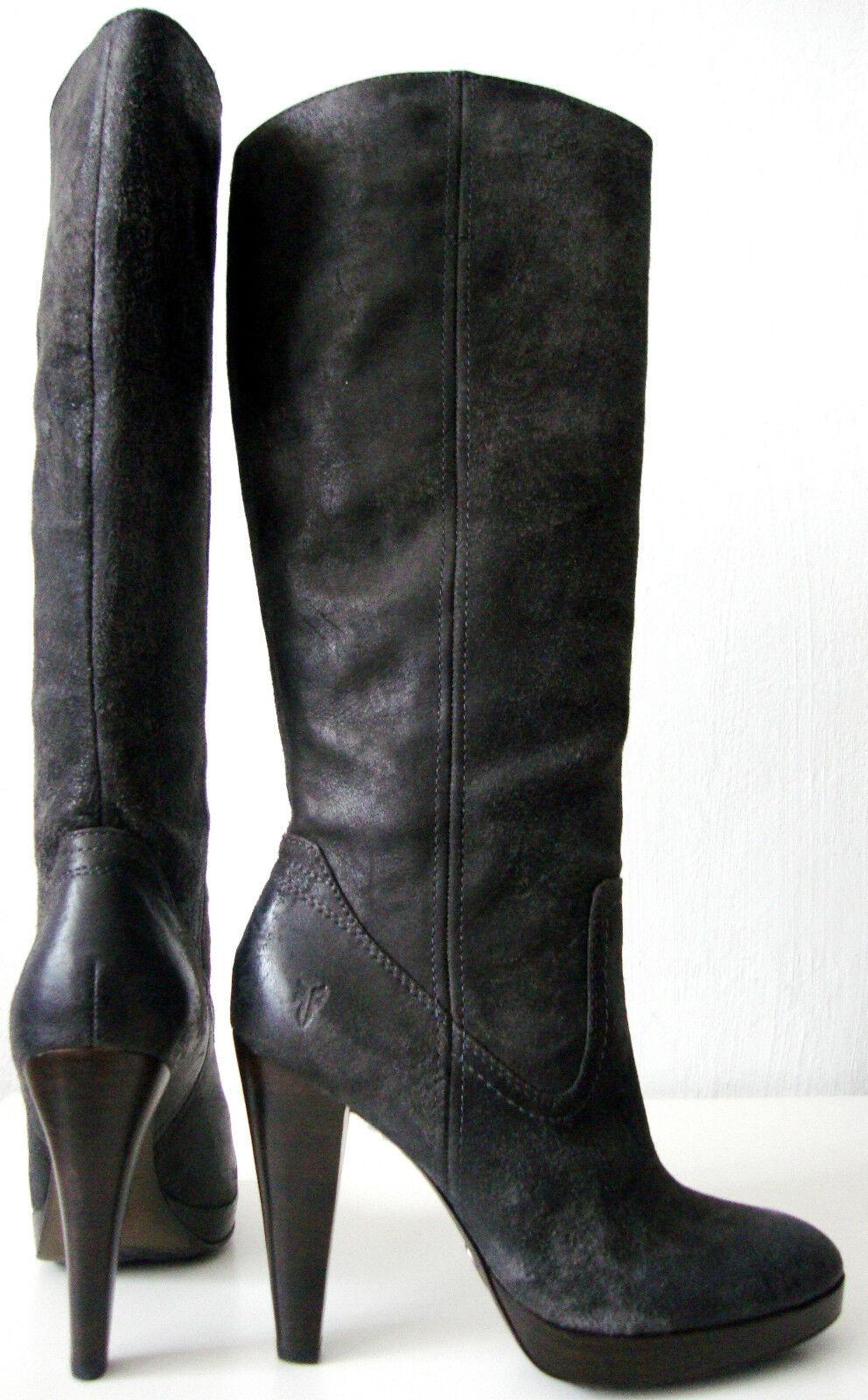 FRYE HARLOW CAMPUS Stiefel Damen Leder High Heel Luxus Stiefel Grau Gr.37   7M NEU