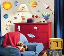 OUTER SPACE 35 Wall Stickers PLANETS ROCKETS Room Decor Decals Solar System Sun