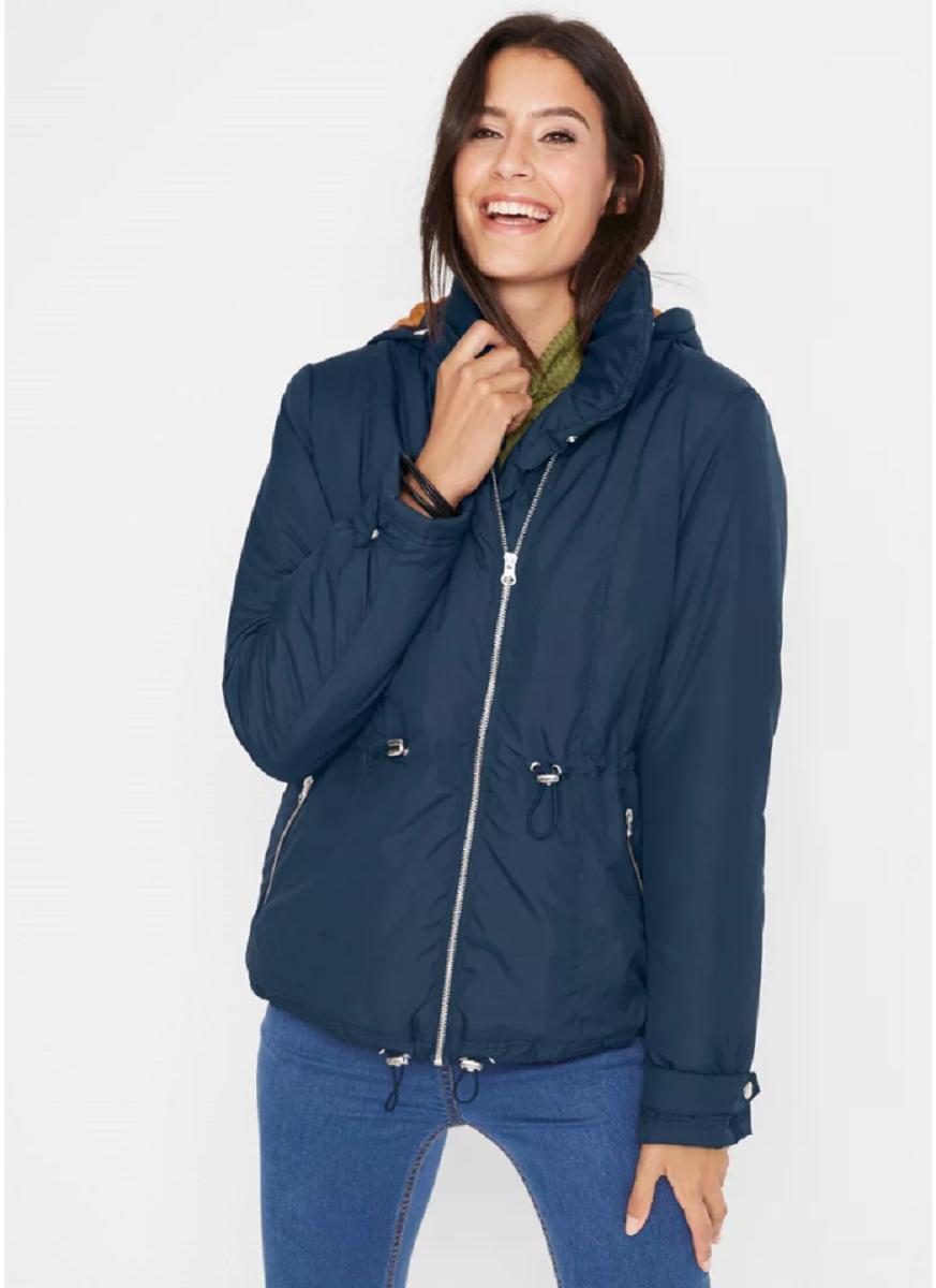 Bonprix Navy Asymentric Zip Hodded Padded Coat Jacket Size 12 NEW