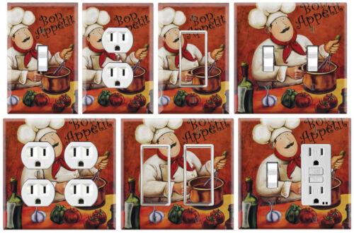 Bon appetit Fat chef cuisine-Graphiques Art Toggle//rocker//GFCI//Outlet Plaque Murale