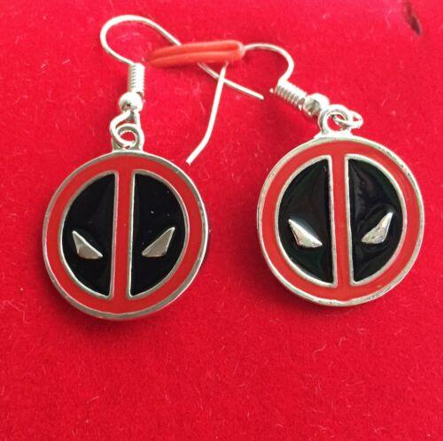 Ladies Girls Gift Marvel Superhero 925 Silver Plt Deadpool Drop Dangle Earrings