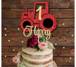 Image Is Loading TRACTOR PERSONALISED GLITTER CAKE TOPPER 1st BIRTHDAY