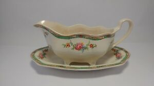 Johnson-Brothers-The-Connaught-Gravy-Boat-amp-Underplate-Tray-Linder