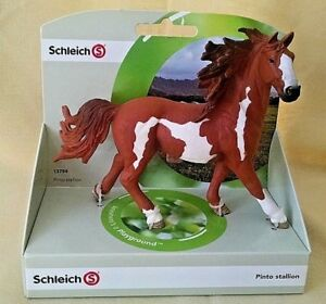 SCHLEICH-HORSE-PINTO-STALLION-NEW-13794-BROWN-WHITE-MALE-FARM-LIFE-4-1-4-INCH