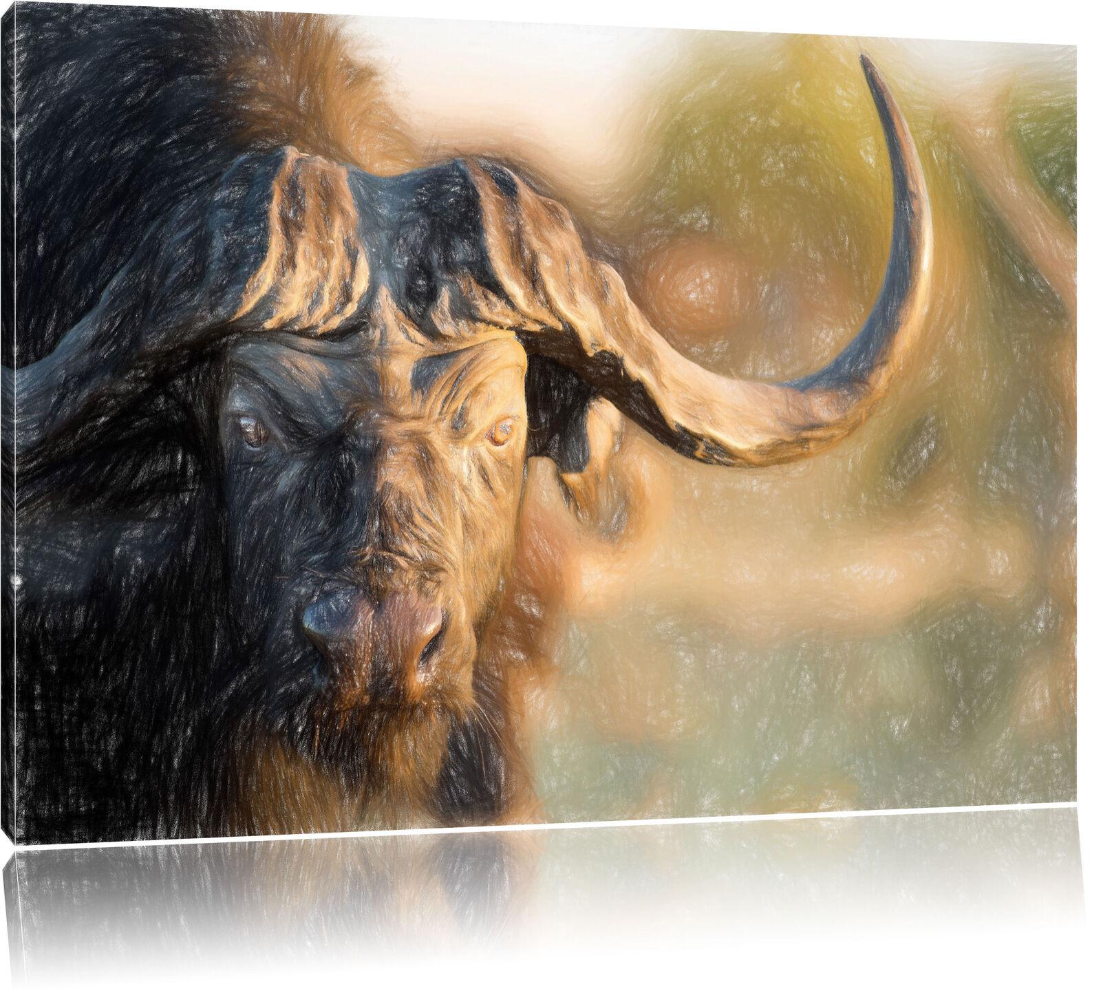 Kaffernbüffel mit kräftigen Hörnern Kunst Buntstift Effekt Leinwandbild Wanddeko