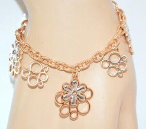 BRACELET-femme-pendentifs-fleurs-or-argent-chaine-idee-cadeau-fete-E40