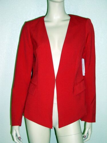 Laundry NWT Sz 6 8 Red Topstitched Collarless Open Front Jacket Blazer $129 7171