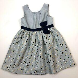 Gymboree Girls 4t Silver Gold Navy Blue Polka Dot Dress