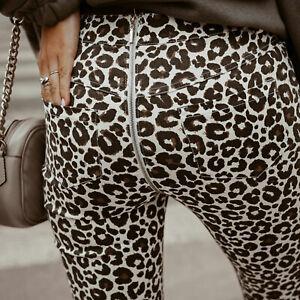 Damen-Jeanshose-High-Waist-Jeans-Roehrenjeans-Back-Zipper-Leo-38-M