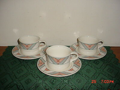 """6-PC MIKASA """"SANTA FE"""" COFFEE CUPS & SAUCERS/SOUTHWESTERN/CAC 24/CORAL-VARIOUS!"""