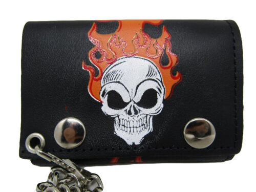 4 inch Flaming Burning Skull Flames Black Genuine Leather Wallet With Chain