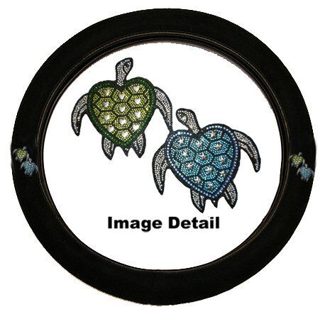 Blue /& Green Turtles Crystal Studded Rhinestone Steering Wheel Cover