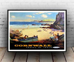 Antiquitäten & Kunst Vintage Railway Seaside travel advertising Poster reproduction. Cornwall