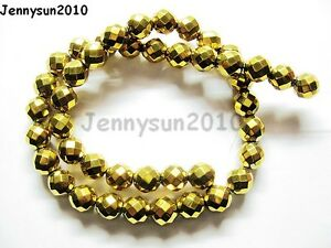 Hematite-Gemstone-Faceted-Round-Ball-Beads-16-039-039-Gold-2mm-3mm-4mm-6mm-8mm-10mm