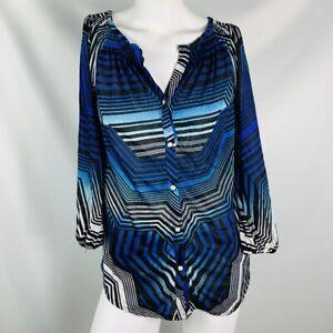 Top-da-donna-Cache-camicia-taglia-small-blu-e-bianco-nero-elastico-manica-corta-elastico