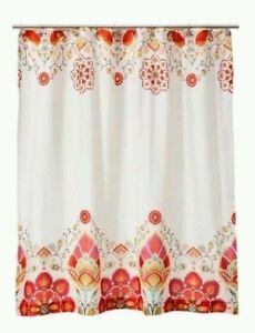 orange floral shower curtain. Image Is Loading Mudhut Tamerin Shower Curtain Red Orange Floral  EBay