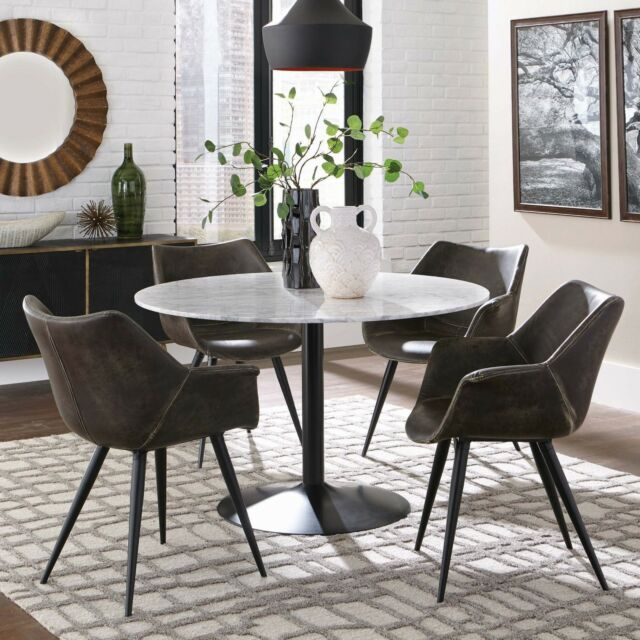 Modern Rustic 5 Piece Dining Set Round White Marble Table Top Two Chair Styles