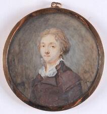"""Gentleman in brown redingote"", miniature on organic wafer, 1790s"