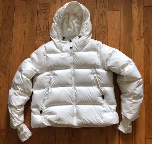 ATHLETA L White Lofty Cozy DOWN Puffer Hoodie Coat