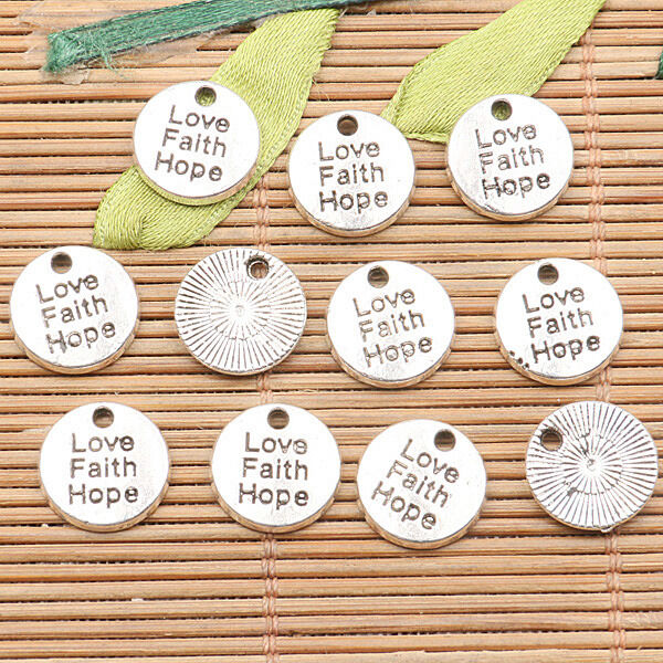 20pcs tibetan silver color round shaped Love Faith Hope lettering charms h0235