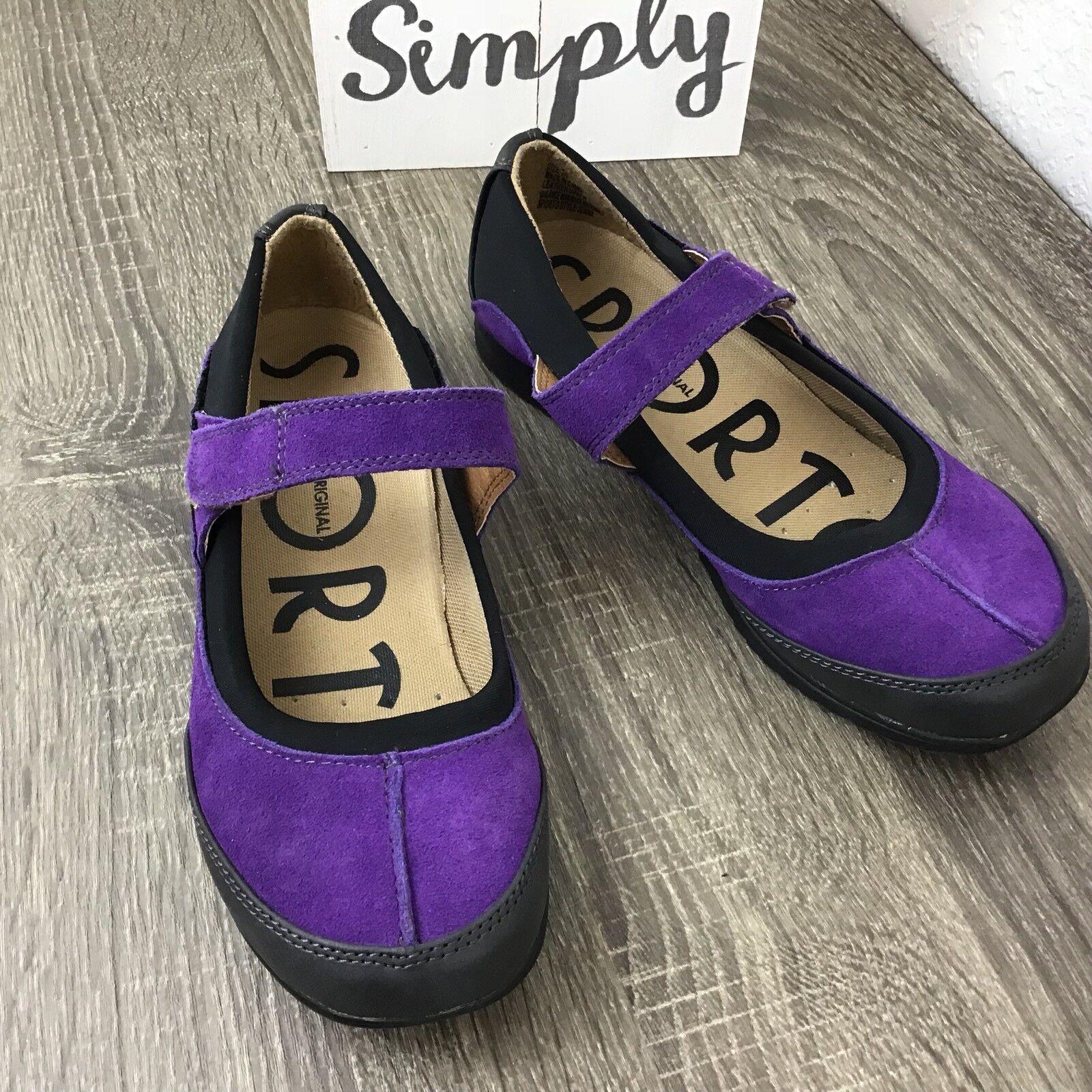 Sporto Jenna Waterproof Suede Mary Janes Leather shoes Purple Size 7