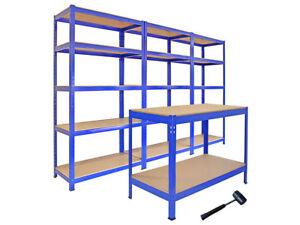 Pack-3-Estanterias-T-Rax-90cm-y-Mesa-de-Trabajo-Q-Rax-Acero-Sin-Tornillos-Azules