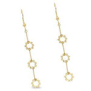 Image Is Loading Flower Dangle Earrings Solid 14k Yellow Gold Long