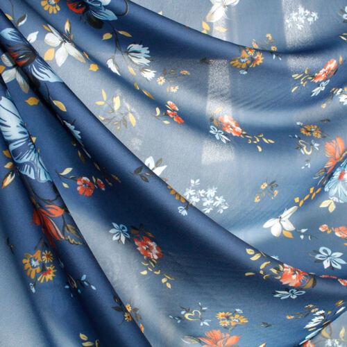 Tessuto al 1//2 metro per Abbigliamento Georgette NINFA Blu Fiori Celesti e Rossi