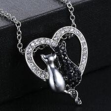 A-OK Charm Black White Cute Cat Rhinestone Heart Pendant Chain Necklace