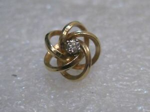 Vintage-14kt-Diamond-Love-Knot-Tack-Pin-with-Chain-signed-D-87-Grams-10-8mm
