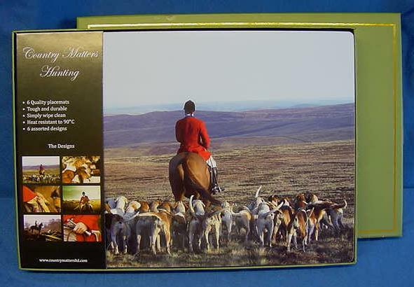 SET OF 6 COUNTRY MATTERS PLACEMATS - HUNTING, HORSES & FOXHOUNDS COUNTRY SPORTS