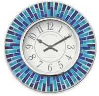 Blue Mosaic Coastal Wall Clock Modern Home Contemporary Splash Art Decor Chrome