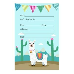 Details About 30 Invitations Cards Unisex Girl Boy Kids Birthday Party Llama Alpaca Fill In