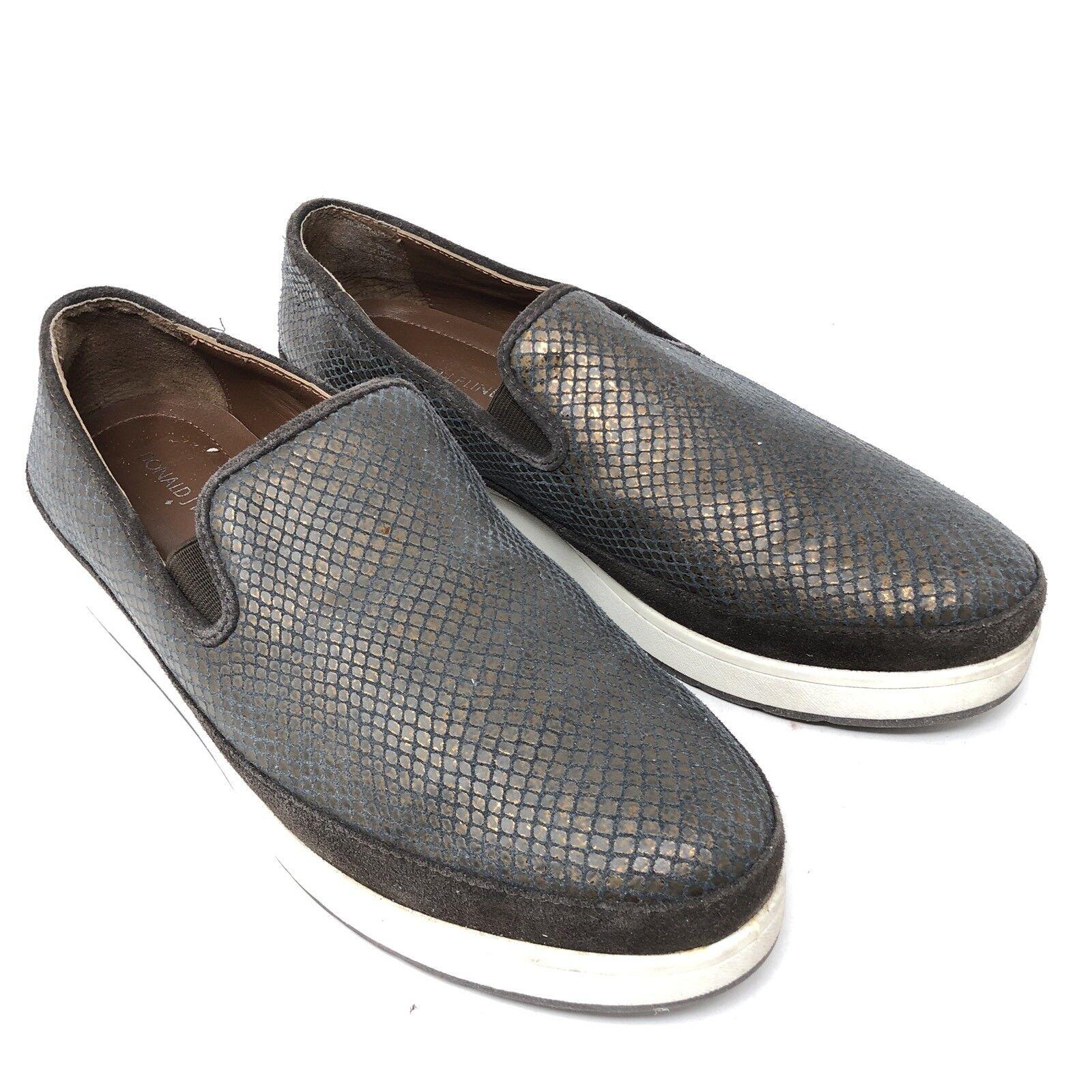 Donald J Pliner Mickey Mo Bronze Leather Snake Print Fashion Sneakers Womens 10M