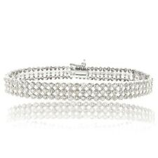 925 Silver 2 Carat Diamond Three Row Tennis Bracelet - J-k-i3