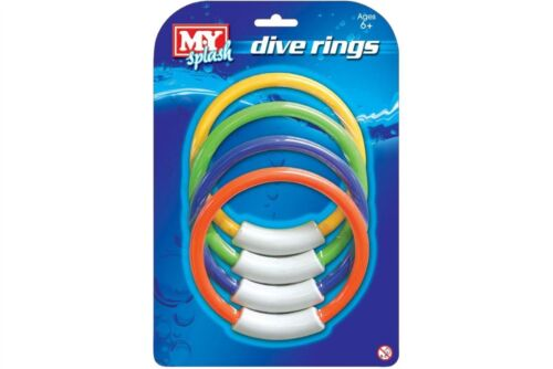 4 x ed Dive Rings Swimming Pool Retrieval Game Toy Two Packs